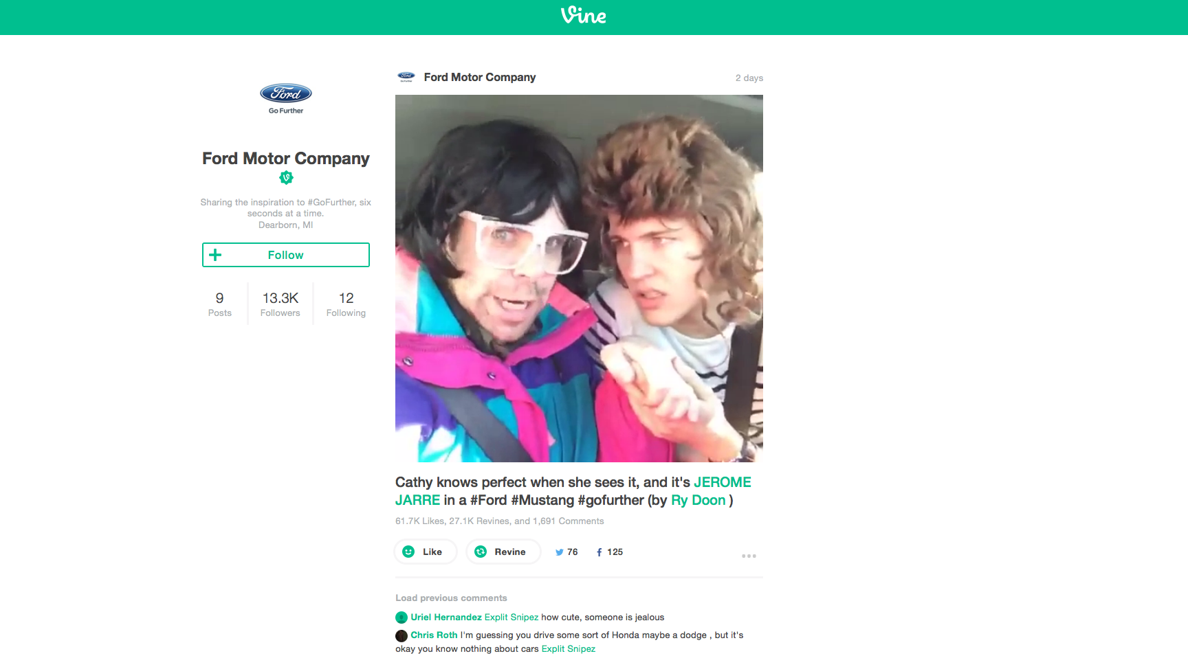 Vine Account der FORD Motor Company