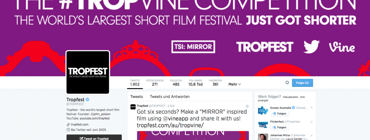 Tropfest in 2014 mit Vine Video Kategorie