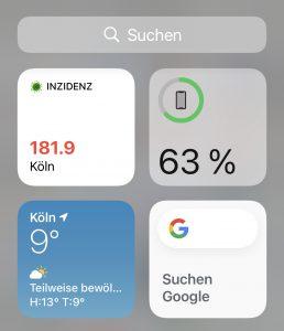 Inzidenz-Widget auf Ihrem Smartphone