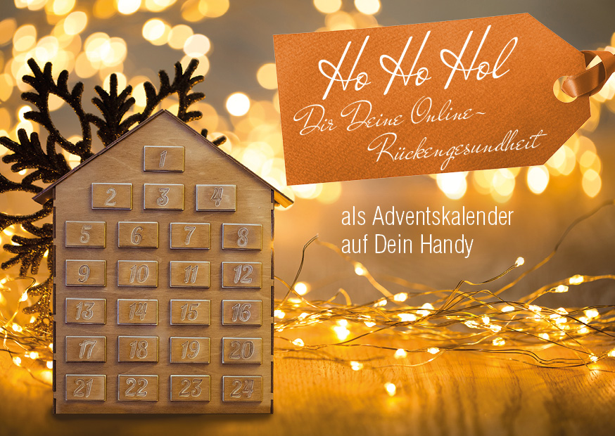Ankündigende Postkarte zum Snack-Content Adventskalender Rückengesundheit
