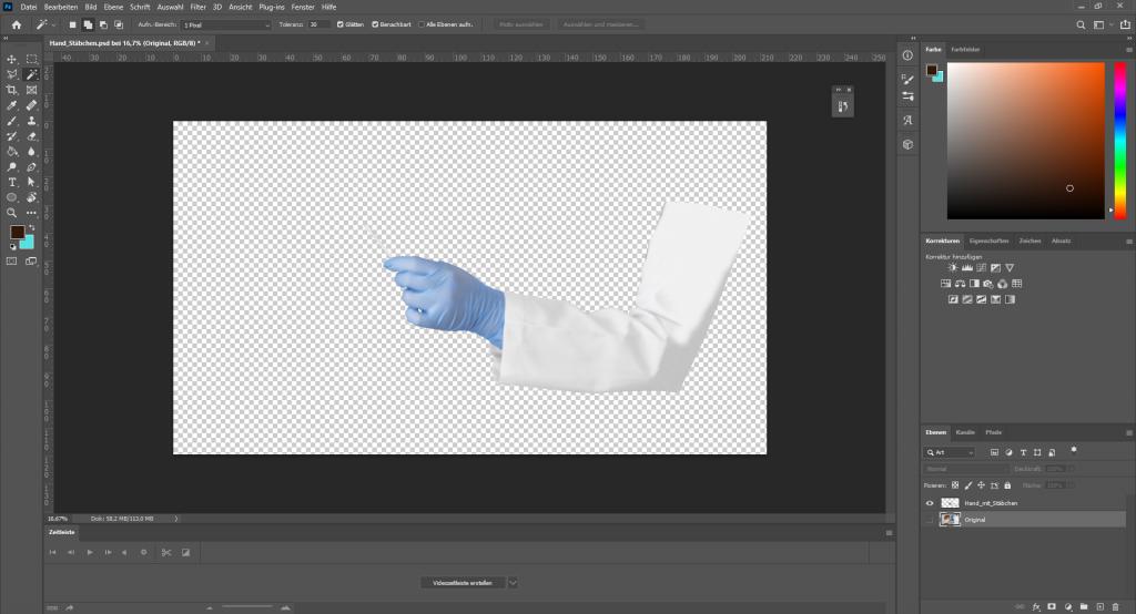 Photoshop-Bearbeitung: Ausschneiden und Anpassen der Hände