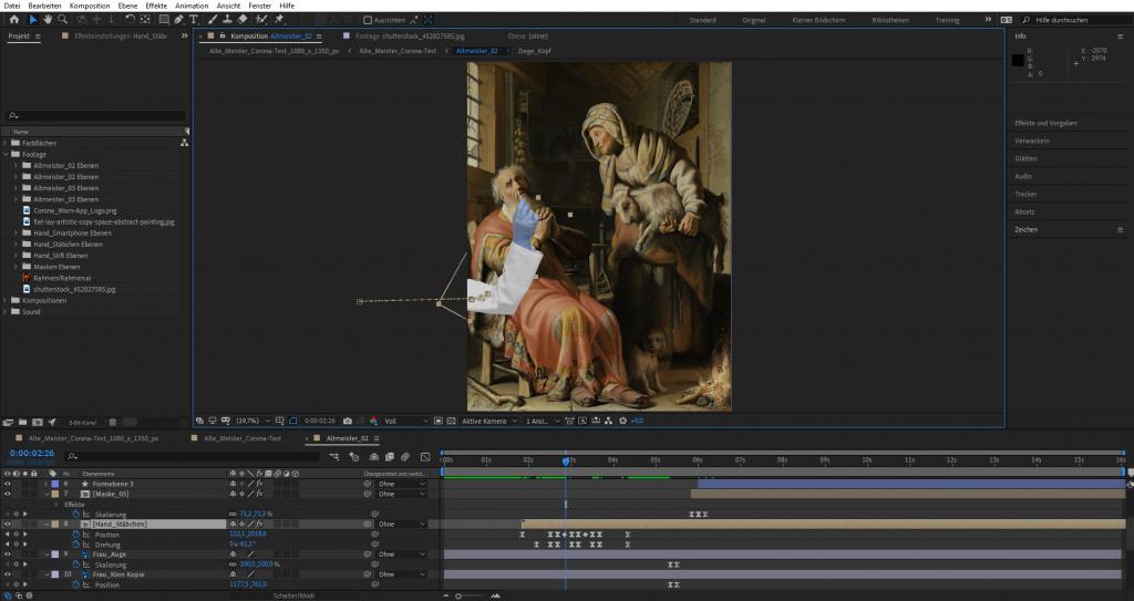 After Effects Bearbeitung: Animation der Einzelszenen
