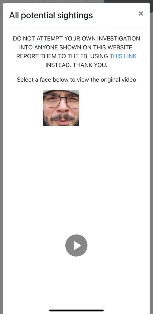 Klickt man auf ein Gesicht, so wird es zur Einzelansicht und zeigt das Video, aus dem es extrahiert wurde