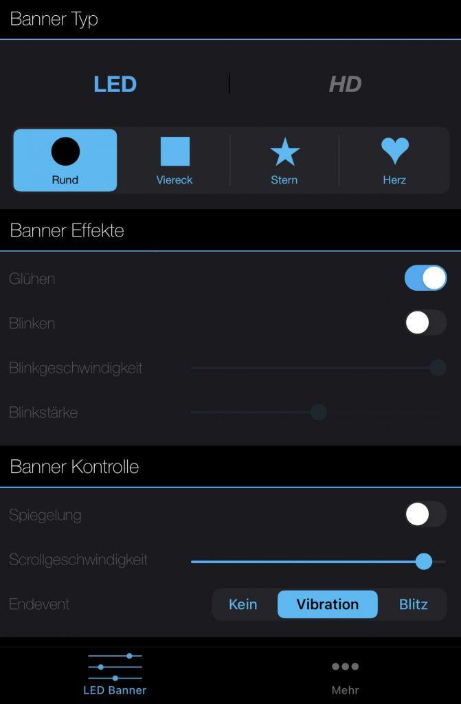 Funktionsumfang von LED Banner Pro 2/2